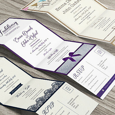 Personalised Accordion Wedding Day Evening Invitations with Envelopes