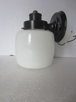 Vintage Mid Century Wall Light Fixture Porch  Outdoor Black Milk Glass Shade