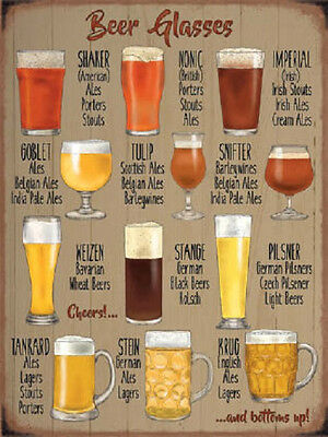 Vintage Style Beer Glasses Metal Sign Wall Plaque Steel Poster 15x20cm