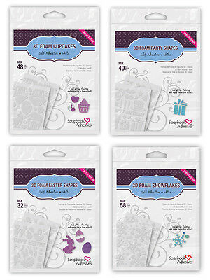 4 Scrapbook Adhesives 3D Foam Shapes: Snowflakes-Easter-Birthday Present-Cupcake