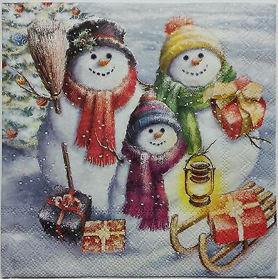 CHRISTMAS SNOWMEN  2 single LUNCH SIZE paper napkins for decoupage 3-ply