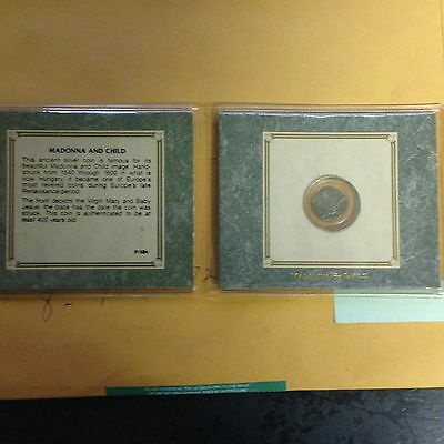 Madonna and Child Silver Denar Coin Hungary Album,Story & Certificate