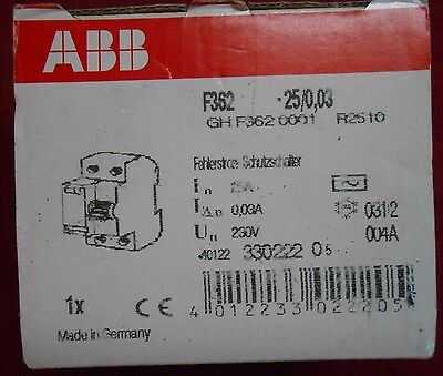 NEW IN BOX ABB  F362  25A 0,03A  BREAKER ground fault interrupter ghf362