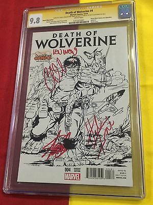 Death of Wolverine #4 cgc 9.8, 4x Signed Stan Lee, Herb Trimpe, X-men, Christmas
