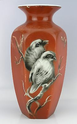 1930's Vintage Tall Midwinter Staffordshire Pottery Hexagonal Red Vase with Bird