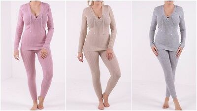 New Womens Ladies Lurex Ribbed Knitted Lace Up Loungewear Lounge Set Tracksuit