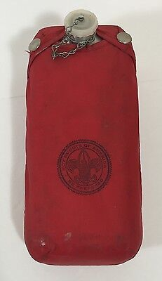 Vtg BSA Boy Scouts Camp Canteen With Belt Clip & Red Cover Case