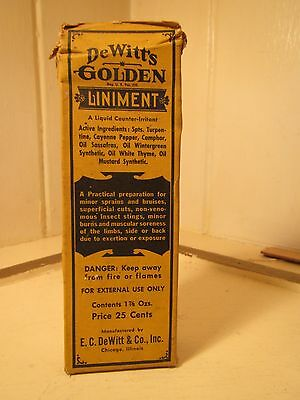 Vintage Dewitts Golden Liniment Bottle Box Instructions Apothecary