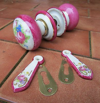Salvaged Edwardian Ceramic Pink Foral Door Handle Set  for a mortice or rim lock