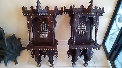 Antique Islamic Middle East Persia Strong Wood Wall Stand W/mather Pearl Inlays