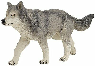 Papo Grey Wolf Wild Forest Track  Animal Quality Figure Model Nature Safari Toy