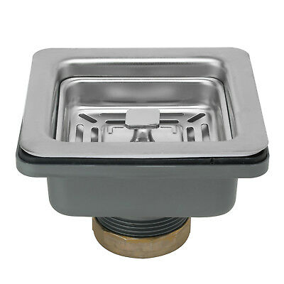 """3.5"""" Square Multi-Function Stainless Steel Kitchen Drain w/ Strainer"""