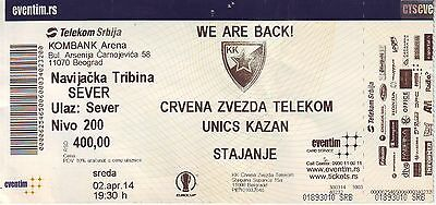 MATCH TICKET BASKETBALL : RED STAR BELGRADE vs UNICS KAZAN