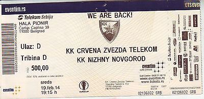 MATCH TICKET BASKETBALL : RED STAR BELGRADE vs NIZHNY NOVGOROD