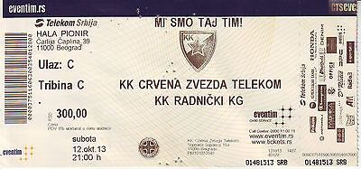 MATCH TICKET BASKETBALL : RED STAR BELGRADE vs RADNICKI KRAGUJEVAC