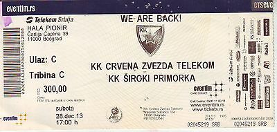 MATCH TICKET BASKETBALL : RED STAR BELGRADE vs SIROKI BRIJEG PRIMORKA