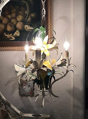 Vintage Italian Tole Chandelier Large Lily And Leaf 3 Lights