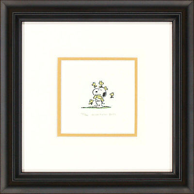 Peanuts Snoopy and Woodstocks A Framed Etching LE 500 Lg Paper Signed NEW