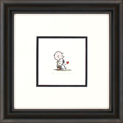 Peanuts Charlie Brown and Snoopy G Framed Etching LE 500 Med Paper Signed NEW