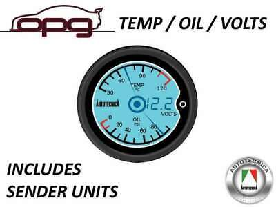 Performance Lcd Digital Dual Gauge Oil Pressure & Water Temp & Volts 52Mm