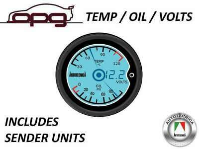 Performance 3 In 1 Gauge Oil Pressure & Water Temp + Volts 52Mm Lcd Digital