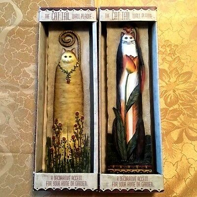Cat Tail Wall Plaques E. Smithson Signed Lot 2 Wildflower & Tulip Cat Lovers NIB