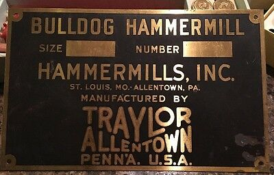 Vintage Traylor Engineering Bulldog Hammermill St Louis Metal Sign Allentown PA