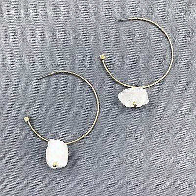 Bohemian Style Antique Gold Hammered Hoop White  Stone Drop Dangle Earrings