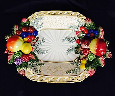 Fitz And Floyd Classics Raised Fruit Design Dish. Made In USA.