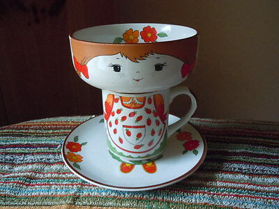 Vintage Interpur Stacking Girl Complete Set Bowl Plate Cup Flowers Child Stacked