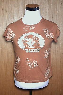 THE DOORS JIM MORRISION WANTED T Shirt Womens  Size L Large Orange