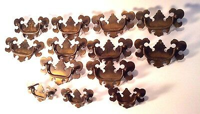 "Vintage Set of 13 Brass American Chippendale BAT WING Drawer Pulls 4 3/8"" and 3"""