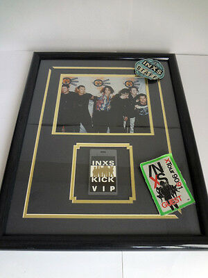 """INXS Framed Picture Early 90's VIP Vintage Staff Guest MTV, 21 1/2"""" x 17 1/2"""""""