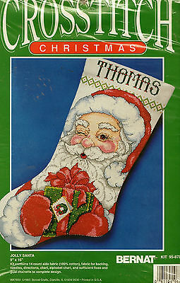 Cross Stitch Pattern Kit Bernat Christmas Jolly Santa Stocking 9 X 16""