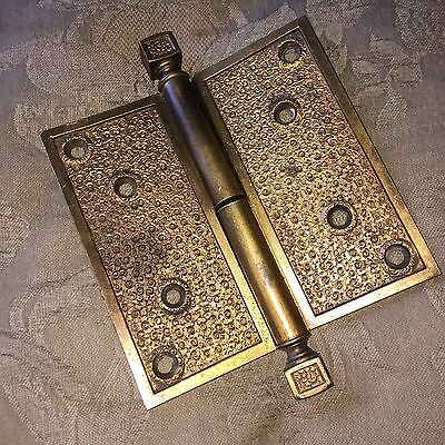 "Antique Russell & Erwin Hinge Damascene  Solid Brass Hinge 5""x 5"""