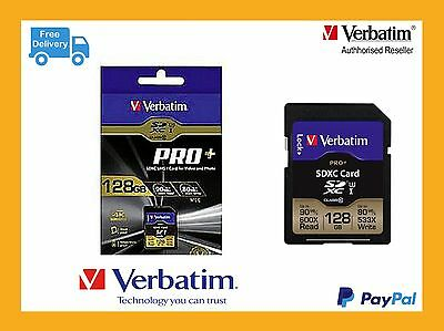 ($0 P & H) Genuine Verbatim SD Pro+ 4K Video SDXC Card 128GB (UHS-I U3) # 49198