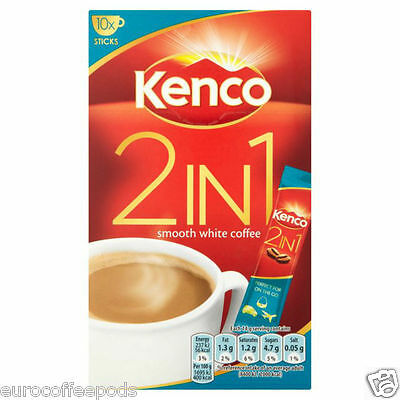 Kenco 2-in-1 Smooth White Coffee 10 Sachets 140 g Pack of 4