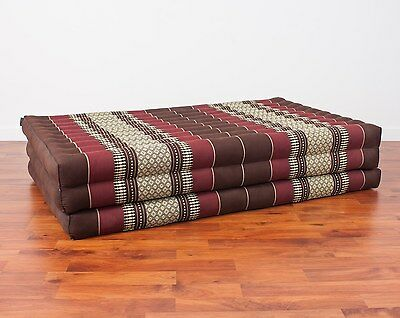 Thai Massage Mat XL, 210x115x8 cm, Kapok, Brown Red