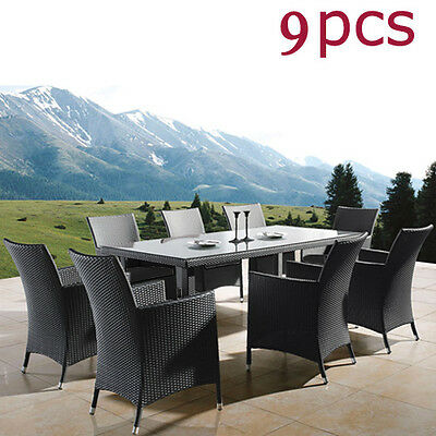 Wicker Outdoor Furniture Setting Dining Table & Chairs Rattan Set 9PCS New