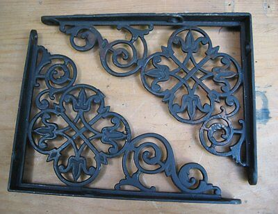 "2 Fancy Victorian Cast Iron Shelf Brackets 6"" x 8"" Pair -antique"