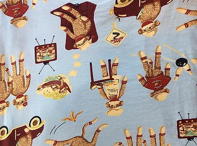 Nick and Nora Sock Monkey Fabric Queen Flannel Flat Sheet Blue Bowling Chef