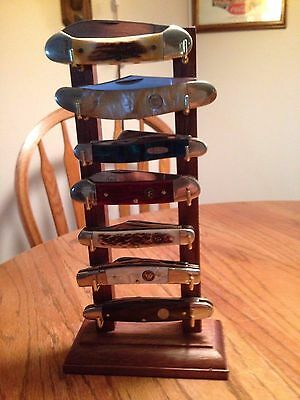 "Lucky ""7"" Solid Walnut Folding/Pocket Seven Knife Display Stand"