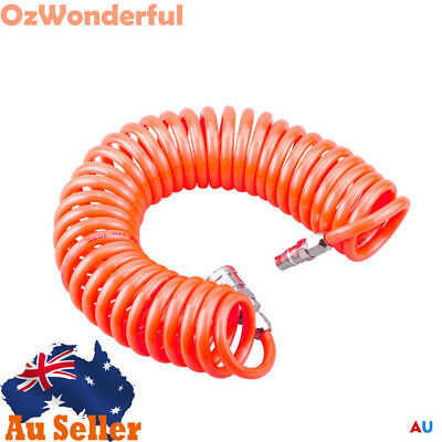 6m Coil Air Compressor Hose Recoil Hose 5mm x 8mm PU with Nitto Style Fittings