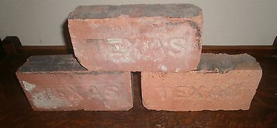 "LOT of 3 ANTIQUE ""TEXAS"" Imprinted BRICK ~~ COLLECTIBLE GARDEN DECOR"