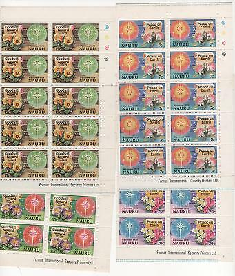 1979 NAURU Christmas Xmas - Flower - Goodwill - Peace - SET in BLOCKS x 10 MUH