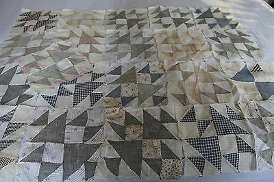 "Set of 21 Vintage Hand Sewn Quilt Blocks 9.5"" Square Antique Shirt Fabric Sheer"