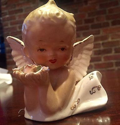 "Beautiful Vintage Norcrest Christmas Angel Porcelain 4"" Figurine Flowers OLD!"