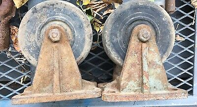 Antique vintage 2 BASSICK Caster Wheels Industrial Cart HEAVY DUTY CAST Iron