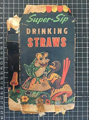 Vintage SUPER SIP DRINKING STRAWS BOX rare Australian 40s grocery advertising