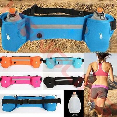 Sport Running Fitness Waist Belt Bum Bag Jogging Marathon Pouch + 2 Water Bottle